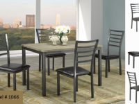 Furniture FREE DELIVERY ON METAL /W OAK TOP STYLISH 5PCS DINNING TABLE
