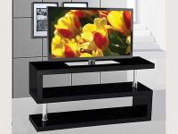 Furniture GLOSSY WHITE/BLACK SOLID TV STAND SLEEK STYLE - FREE DELIVER