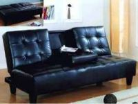 Furniture BEST DEAL-QUALITY SOFA BED CLICK CLACK W/CUP-TRAY! FREE DELI