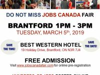 Sales Jobs Brantford Job Fair– March 5th, 2019