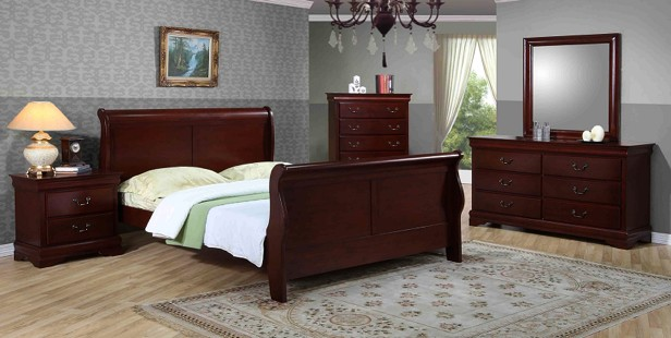 8 Pcs Sleight Bed Bedroom Set Solid Wood Brand New Free
