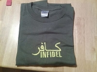 INFIDEL ARMY GREEN EMBROIDERED T SHIRT