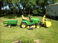 2013 John Deere 7hp tractor with attachments